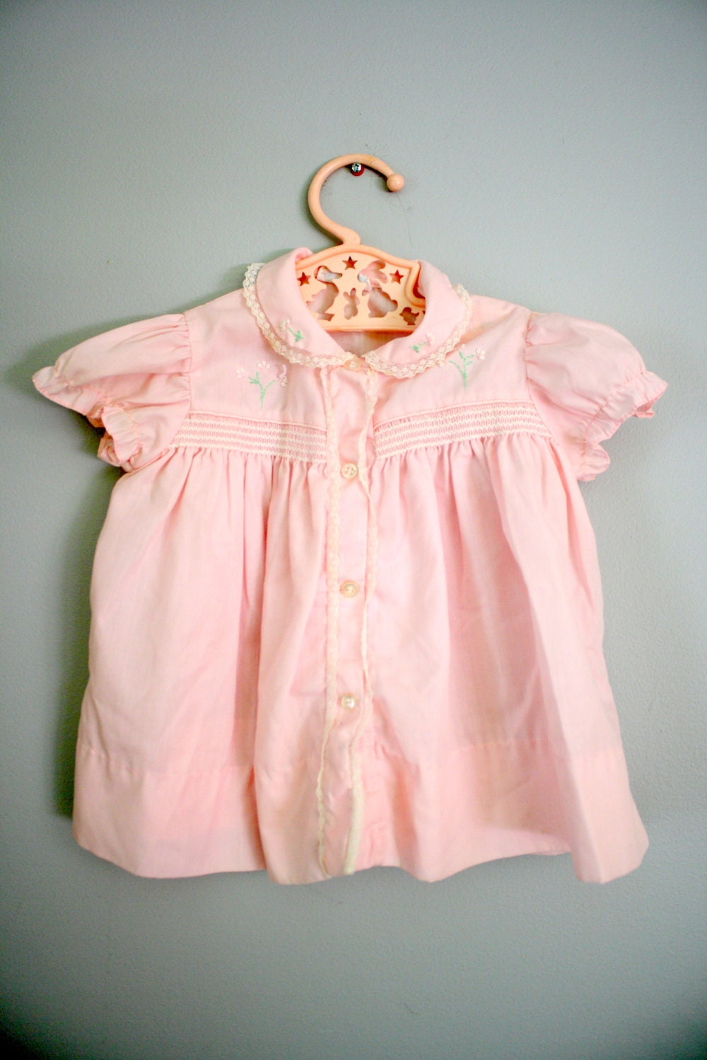 60s 70s Pink Smocked Button Down Dress Sz 9-12 months - babyshapes