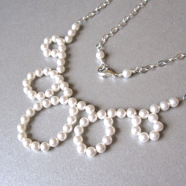 Modern pearl loop bridal necklace