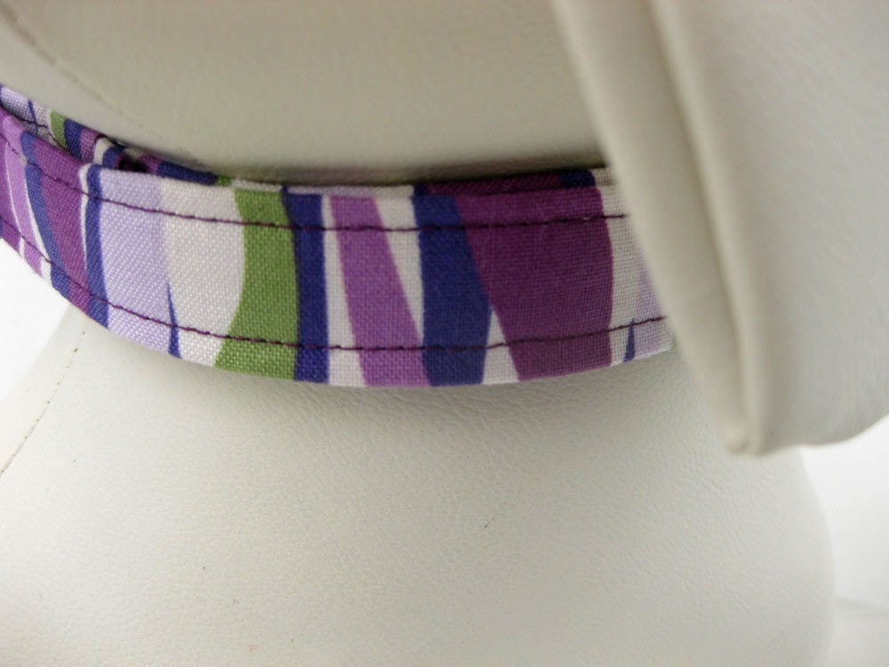 Dog Collar Purple Wavy Stripe
