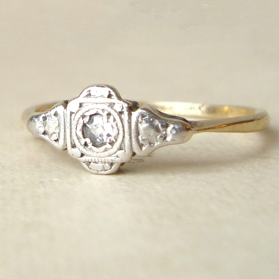 12 art deco wedding band Deco Wedding Rings on Art Deco Engagement Ring Vintage Diamond Ring Antique Diamond 9k