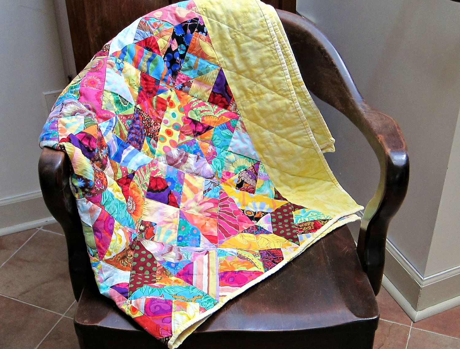 Modern Lap Quilt Bright Colors Rainbow