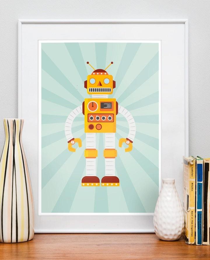 Retro Robot Poster, Nursery art print,  Children's Decor, Kids Art,  Kids room art, Nursery prints,  Baby Nursery print  RETROBOT 2  A3