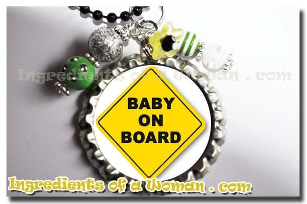 BABY ON BOARD Necklace, Jewelry, Pregnancy Bottlecap Bottle Cap by Ingredients of a Woman