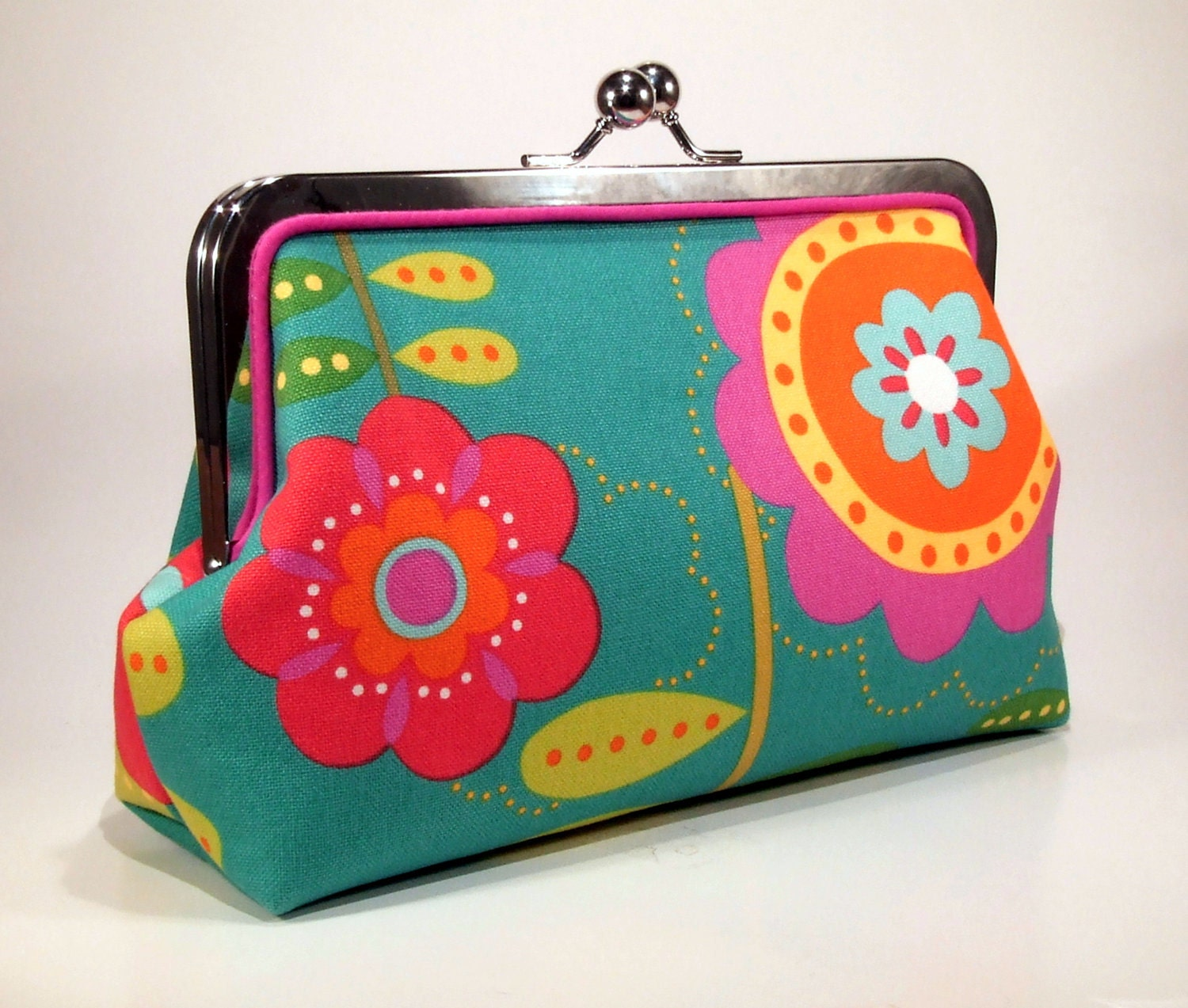 Cotton Clutch - Turquoise Big Flowers with Hot Pink Piping - FABbyCAB
