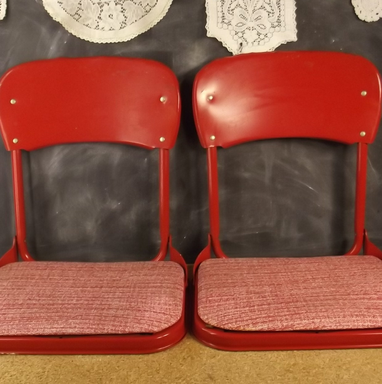 Pair of Vintage Red Metal Vinyl Camping Picnic Stadium Folding Chairs - FoundYesterdaygoods