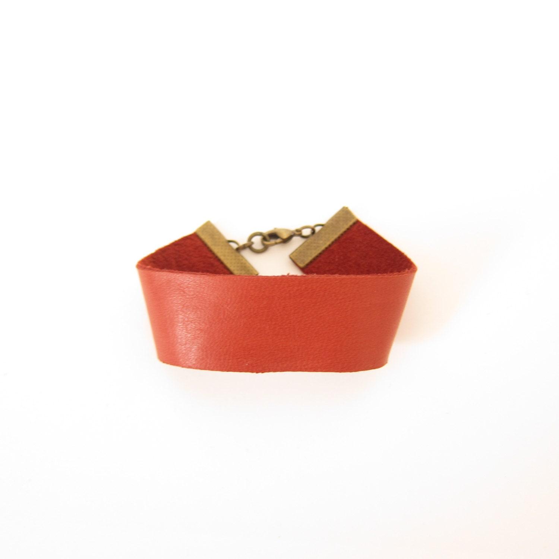 Bracelet - Manchette en cuir - Rouille