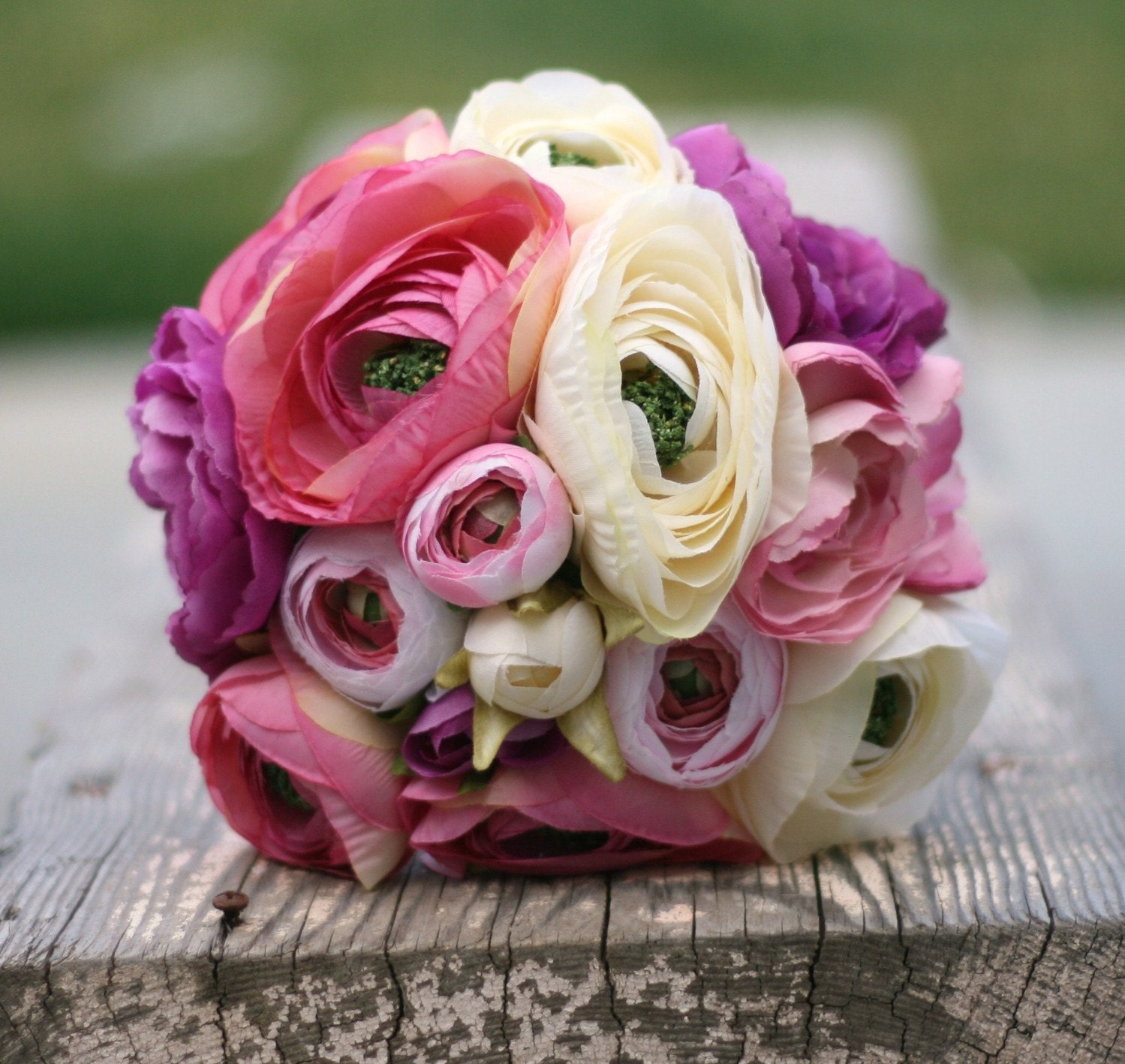 Bride Bouquet Cream Ivory Pink Peony Peonies Ranunculus Stems Wrapped In Grapevines