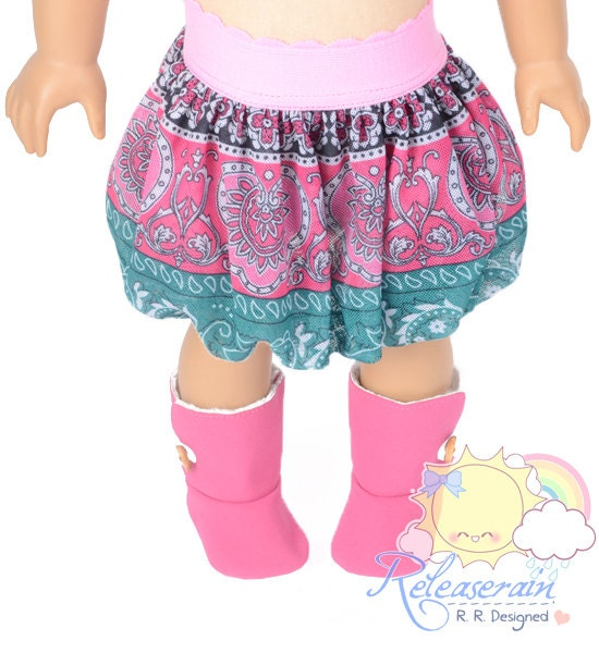 "Pink Elastic Banded Waist Boho Paisley Pink/Turquoise/Black/White Mesh Tulle Bubble Skirt Doll Clothes Outfit for 18"" American Girl dolls"