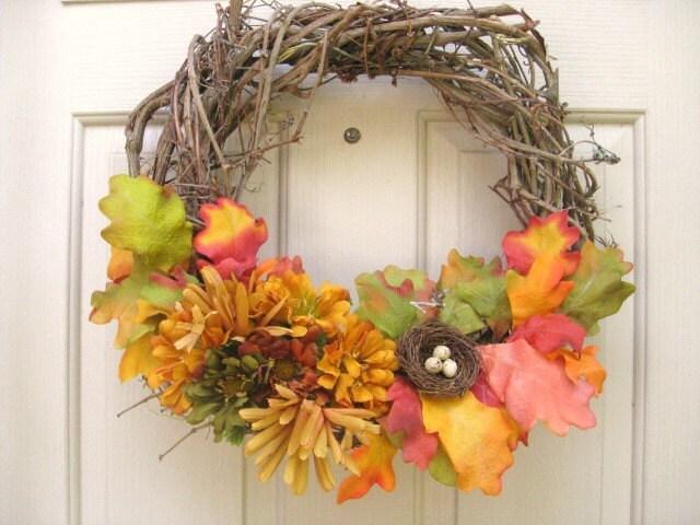 Падение Венок, Harvest двери Венок с Птичье гнездо, Осенний венок