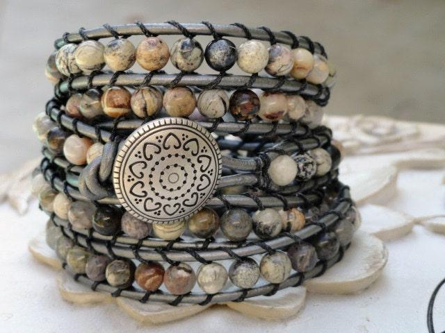 Silver Leaf Leather wrap bracelet beaded 5X wrap metallic bohemian southwestern Chan Luu style - WrappedInLeather