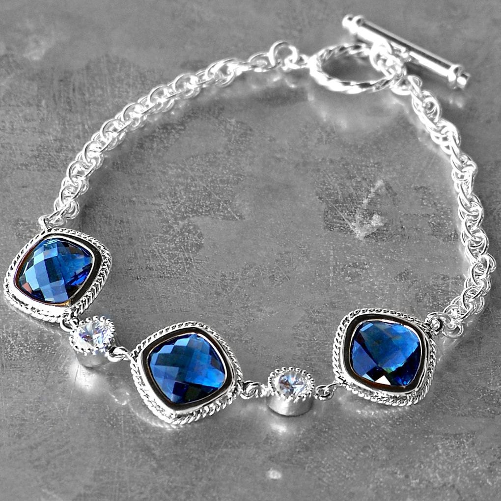 Faceted Sapphire Blue Crystal and Silver Bracelet