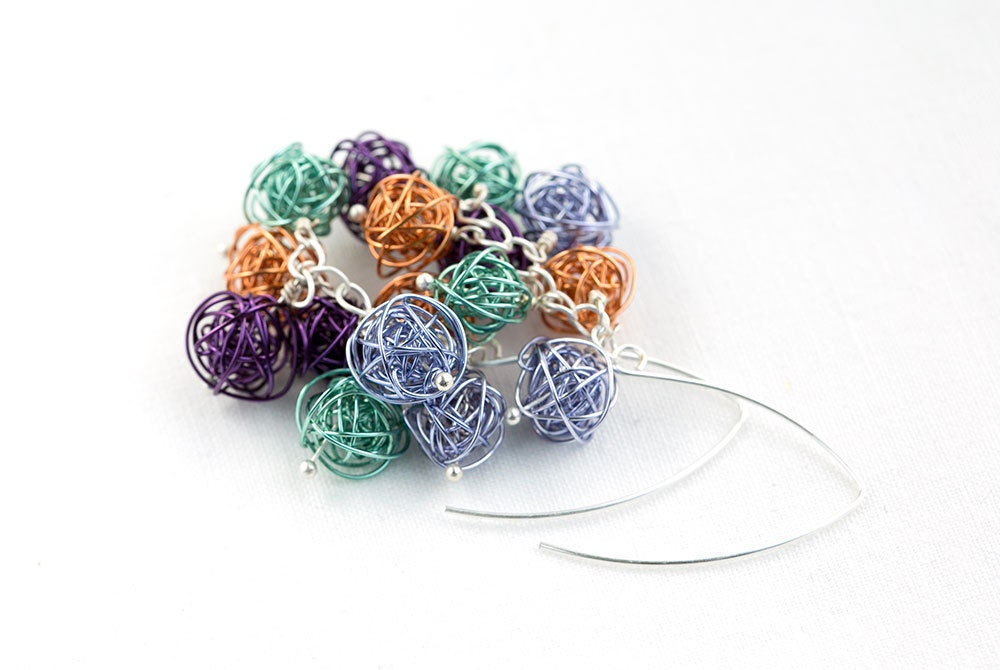 wire wrapped jewelry Earrings orange, mint, lilac and violet handmade wire Balls on Matte Black Plated Metal Earring Hooks, very lightweight - goodrun