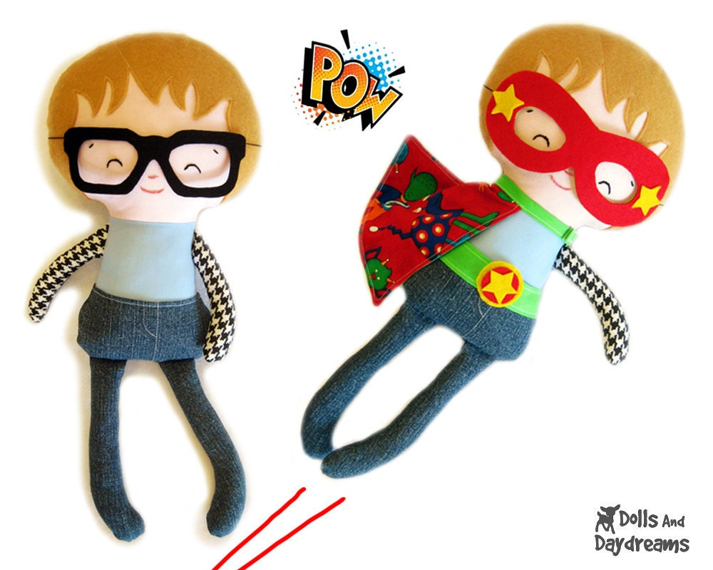 Superhero Sewing Pattern PDF - Removable Doll Glasses, reversible Mask, Cape, Belt included, Plus Glasses, Mask will fit your children too - DollsAndDaydreams