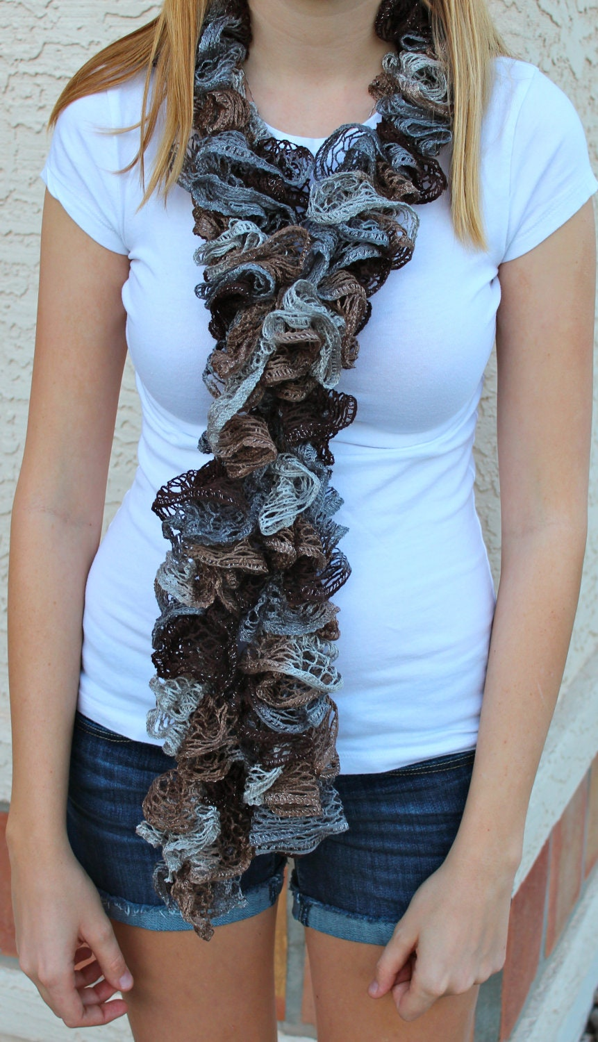 Neutral Colored Ruffle Scarf (light/dark grey, light/dark brown)