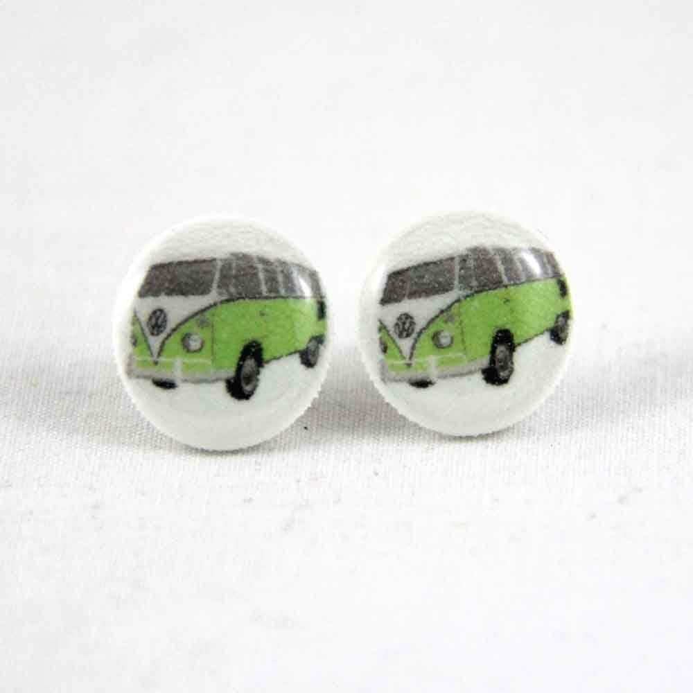 Green Kombi - Post Earrings - Hypoallergenic Surgical Steel