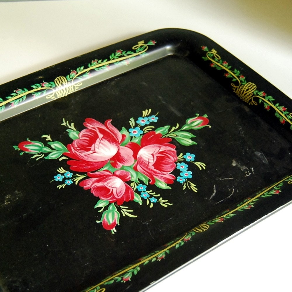 Vintage Tin Toleware Tray with Red Roses
