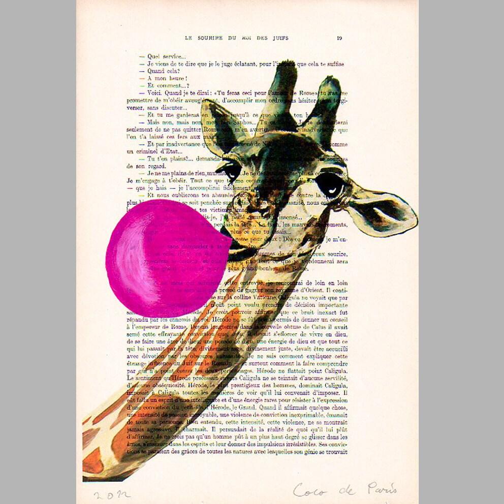 """Жираф с жевательная резинка, оригинальные произведения искусства ручной росписью Смещаная 'La Petit Иллюстрация """"1920 Parisien Magazine"""