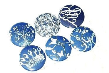 Magnets - Blue and White Floral fridge magnets - BadgeBliss