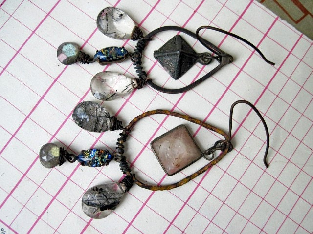 Out of Babylon. Gemstone Assemblage Gypsy Dangles with Labradorite.