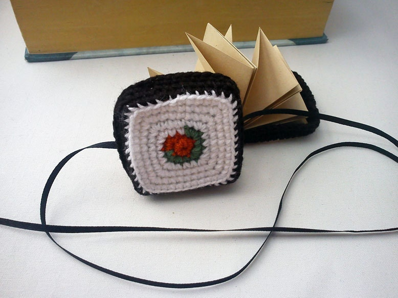 Origami star book with crochet sushi cover