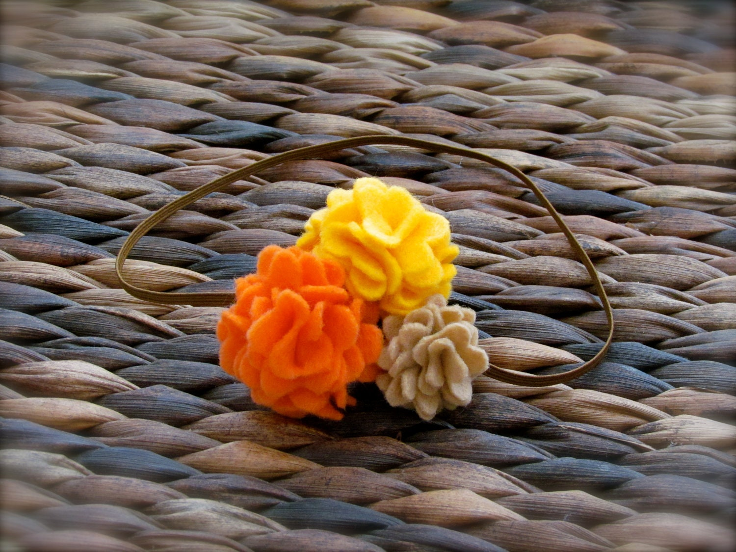 fall headband - Thanksgiving headband - newborn headband - yellow, orange, tan felt flower - flower headband