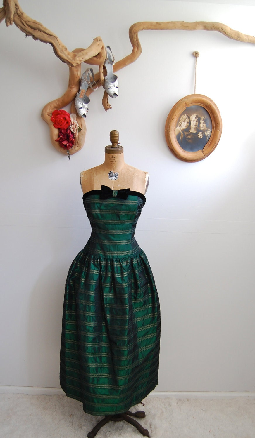 Vintage Strapless Cocktail Dress - 80s does 50s Holiday Dress - The Anna