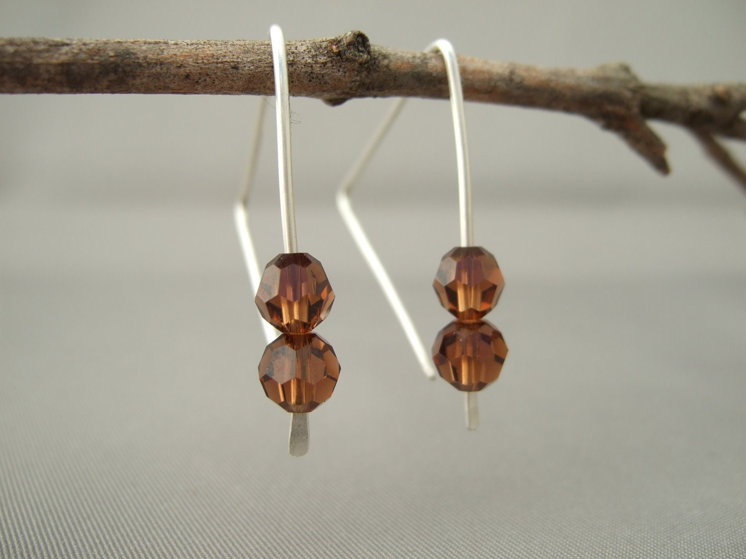 triange smoked topaz earrings