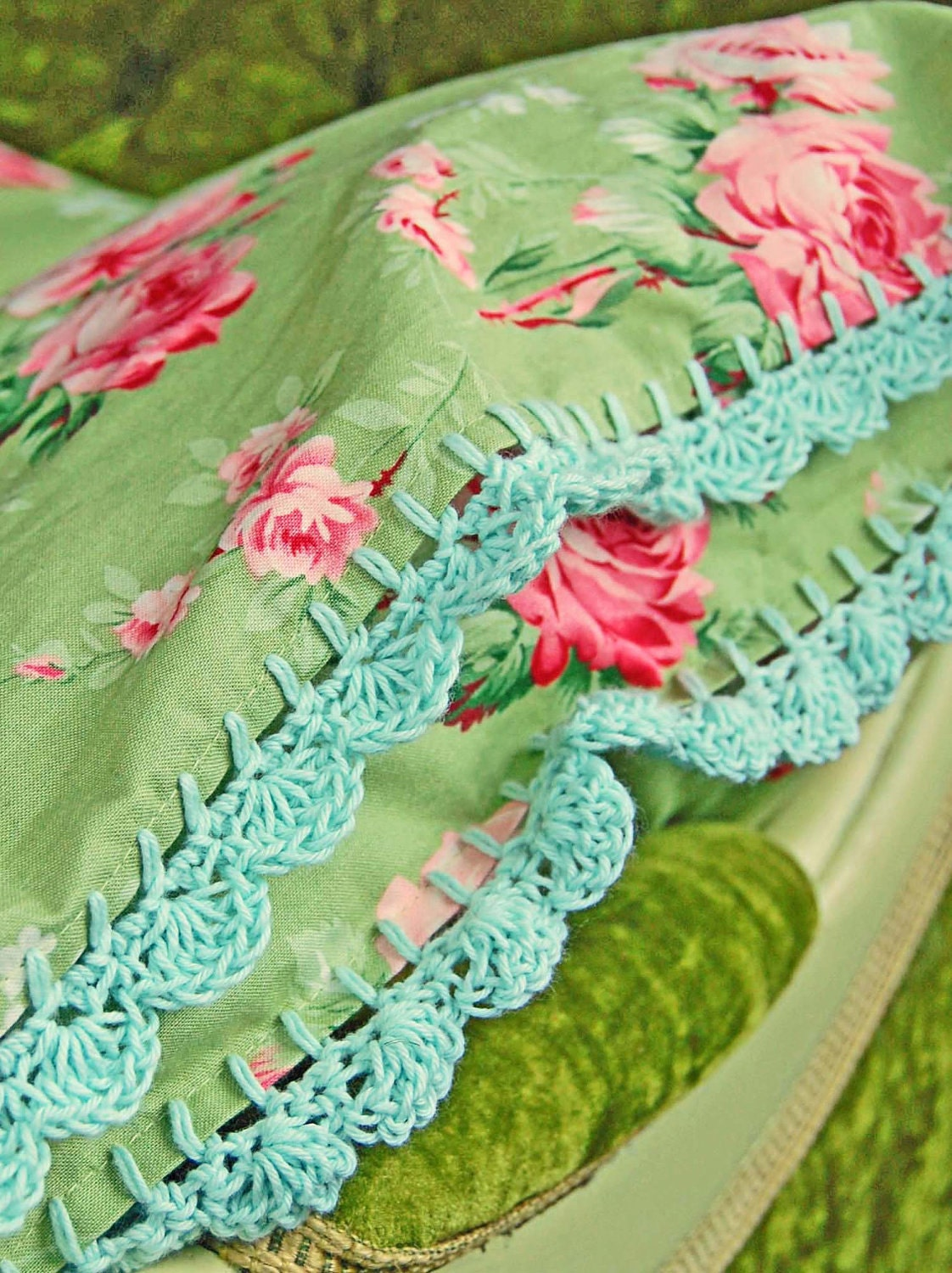 pillowcase with crochet trim  - Peppermint Rose