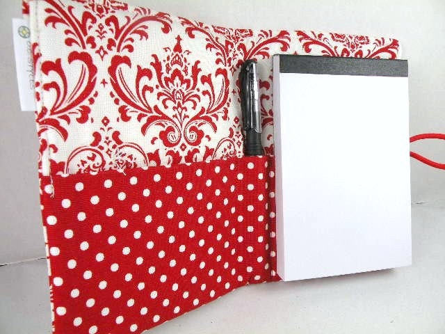 Journal Organizer Notepad Clutch MADISON in Red & White Paper and Pen Included  As Seen At The GBK Prime Time Emmy