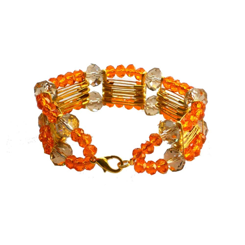 Safety pins cuff bracelet golden with tangerine and grey crystal beads - one of a kind