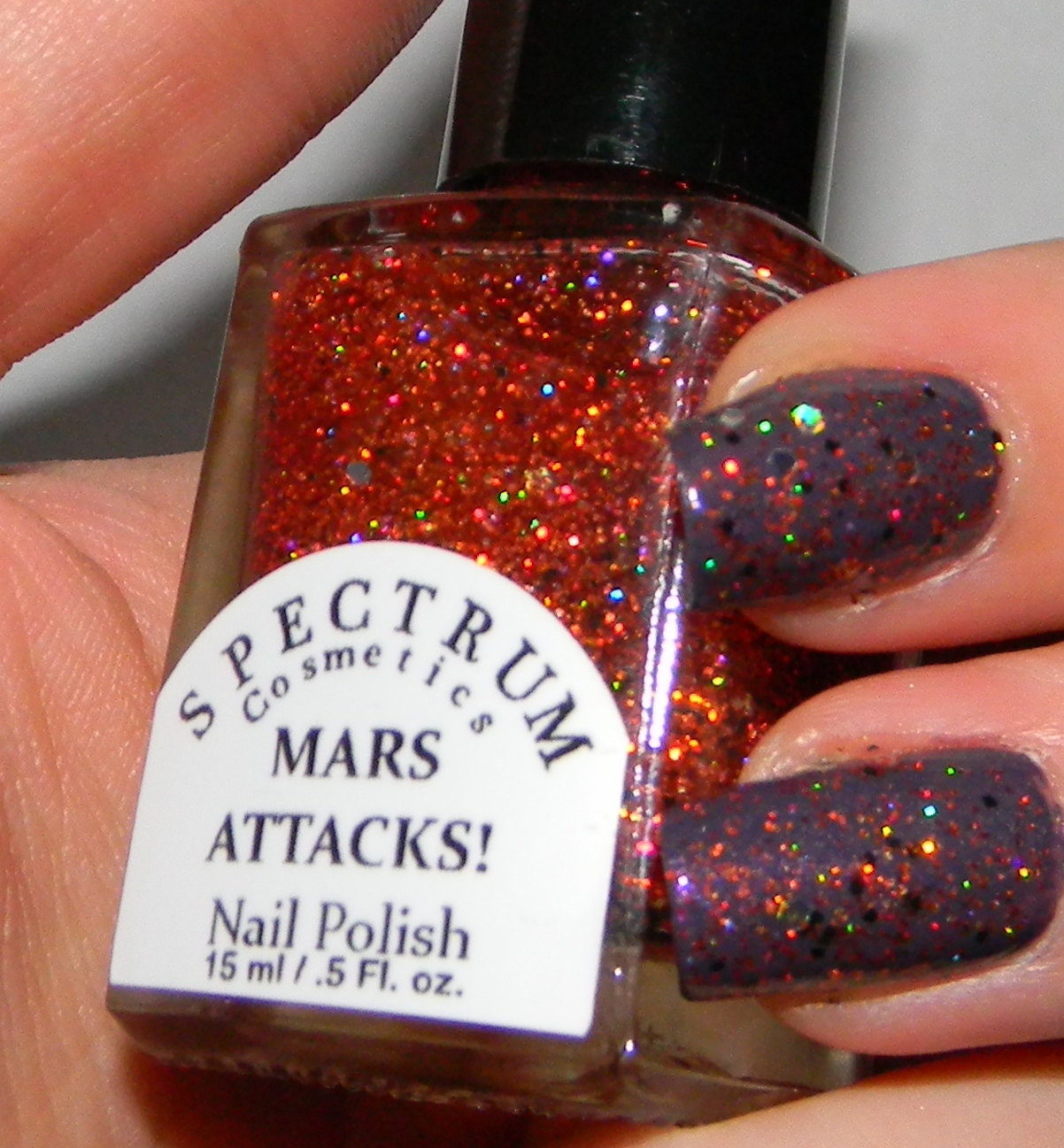 Orange Holographic Nail Polish MARS ATTACKS