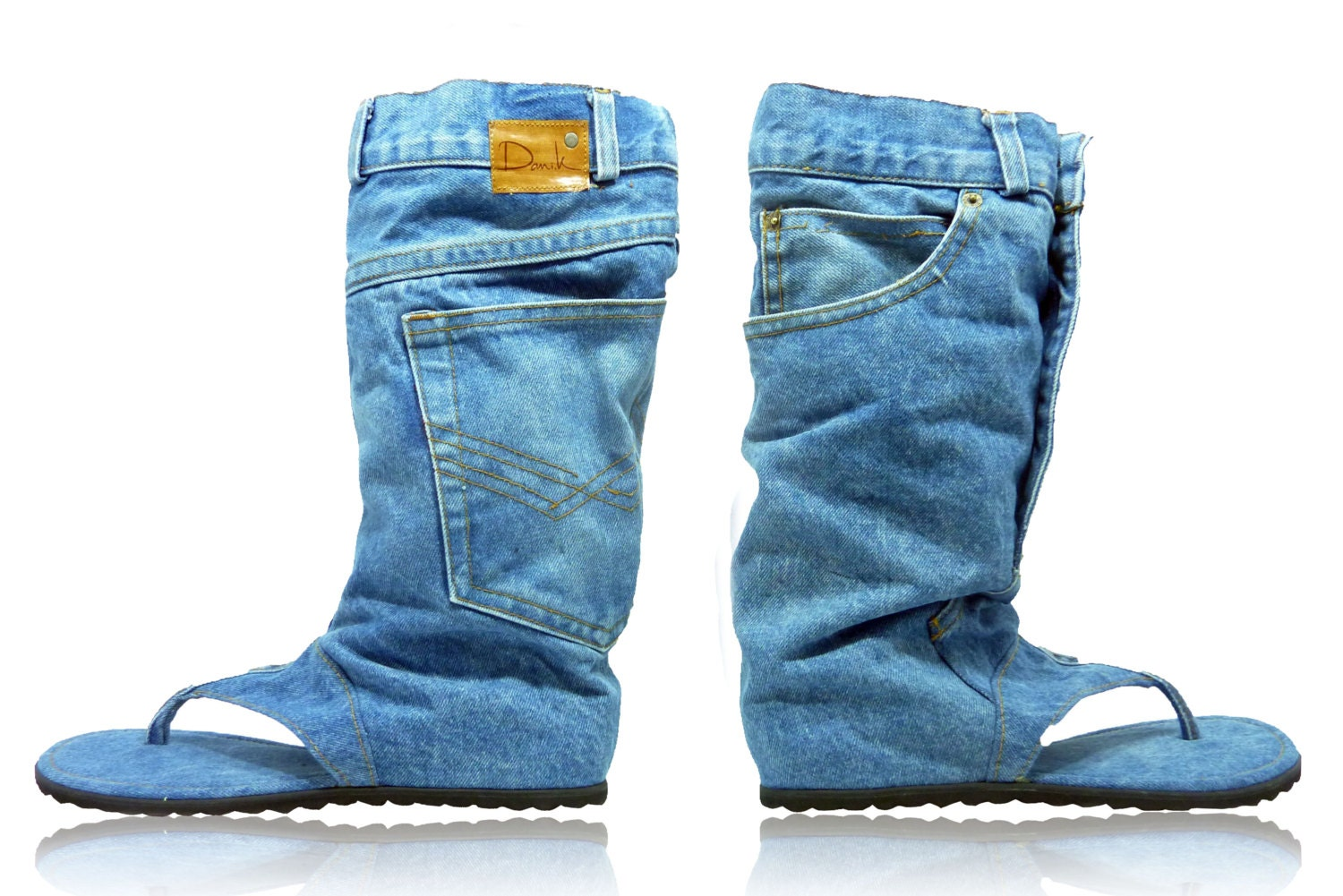 Jeans sandal boots, handmade. size US 10, Euro 42