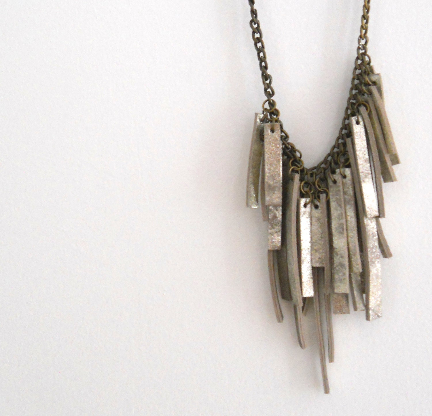Silver leather and Brass chain necklace - Smadars