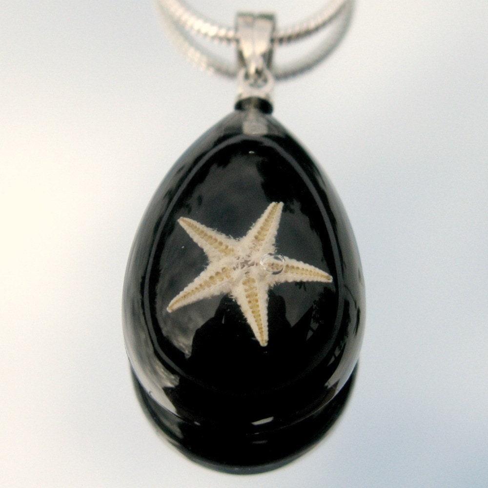 Подлинная Миниатюрные Морская звезда в Акриловые кулон с 18 дюймов серебро покрытием Змея Цепь Черных