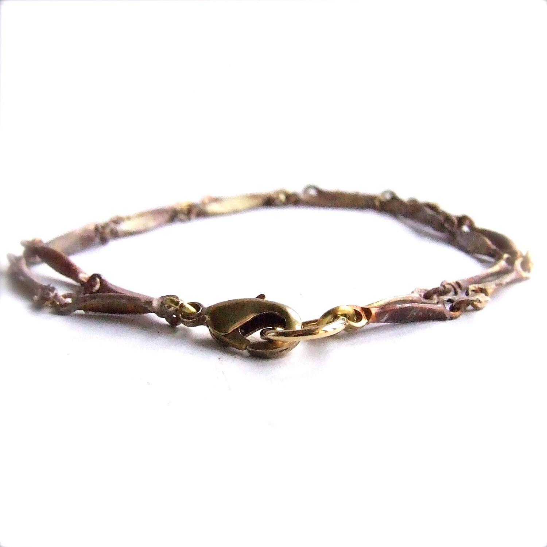 Rose Mauve Vintage Brass Chain- Patina Bracel ...