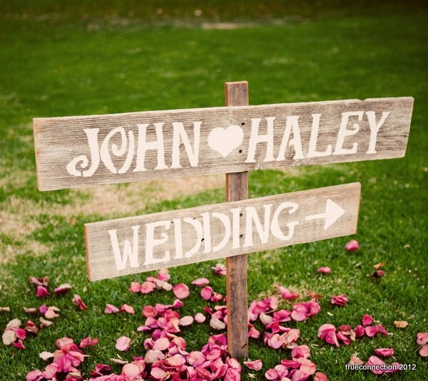 Wedding Signs Romantic Outdoor Weddings LARGE FONT Hand Painted Reclaimed