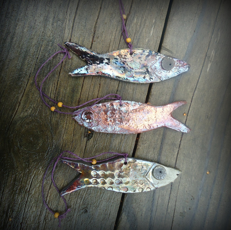 Raku Fish Ornaments (3) - terraworks