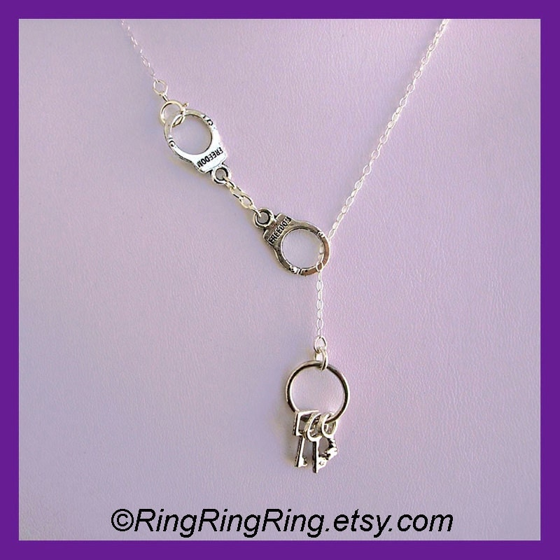 Sterling silver necklace jewelry, Handcuffs necklace, Keys and Handcuffs pendant, Police officer, unique Birthday gift