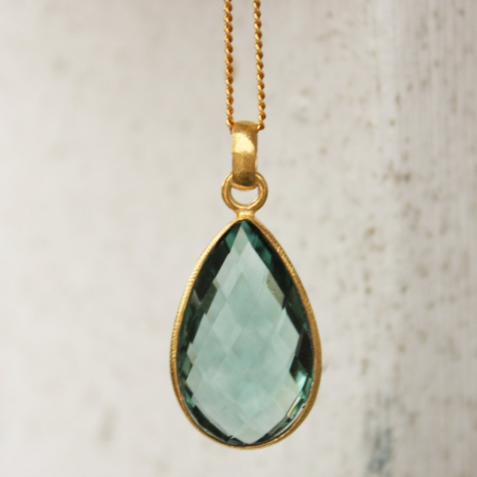 Teal Quartz Teardrop Necklace - Sage Green - Aqua - OhKuol