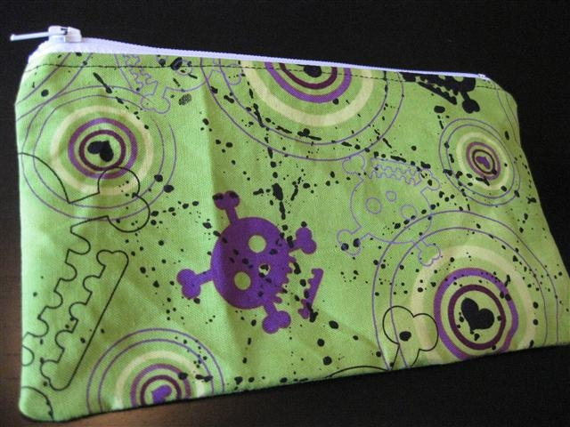 Lime Green, Purple and Black Skull Heart  zippered pouch.