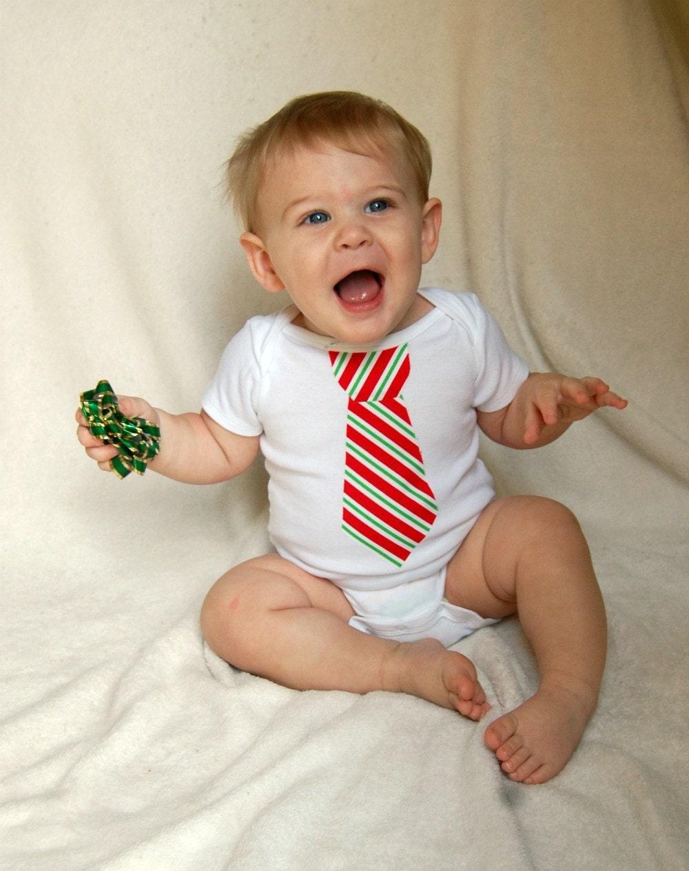 Christmas Stripe Tie Onesie