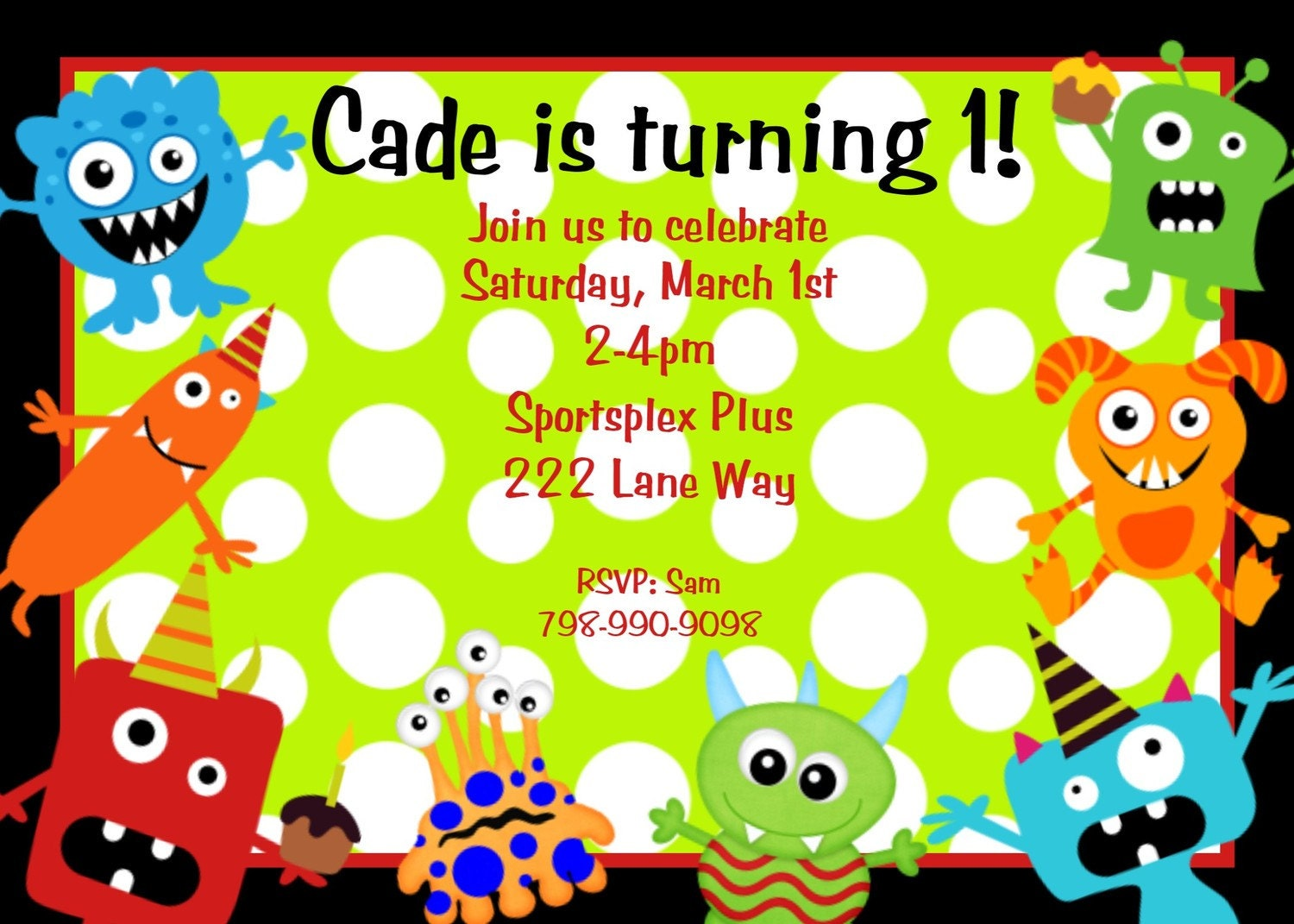 Little Monster Birthday Invitation Monster Birthday Party – Boy Party Invitations