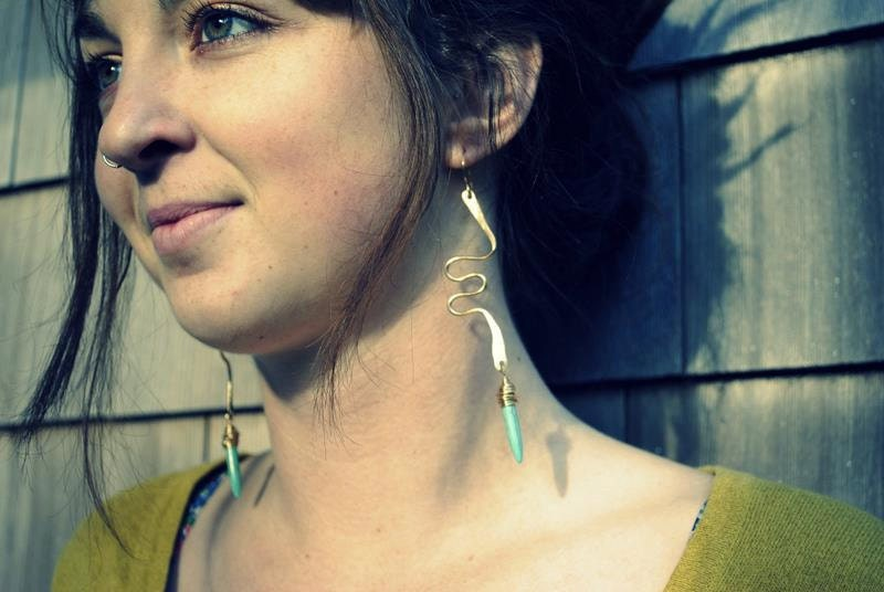 Bronze Zig Zag and Turquoise Spike Earrings - RootsAndWingsJewelry