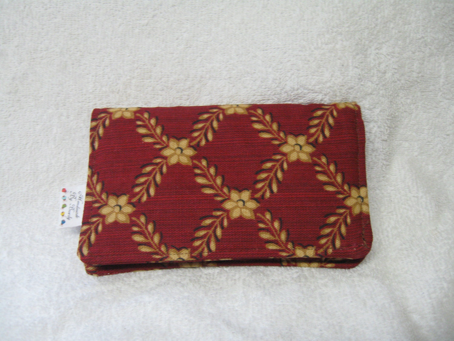 Checkbook Cover Burnt Orange and Gold Print Fabric Checkbook Cover