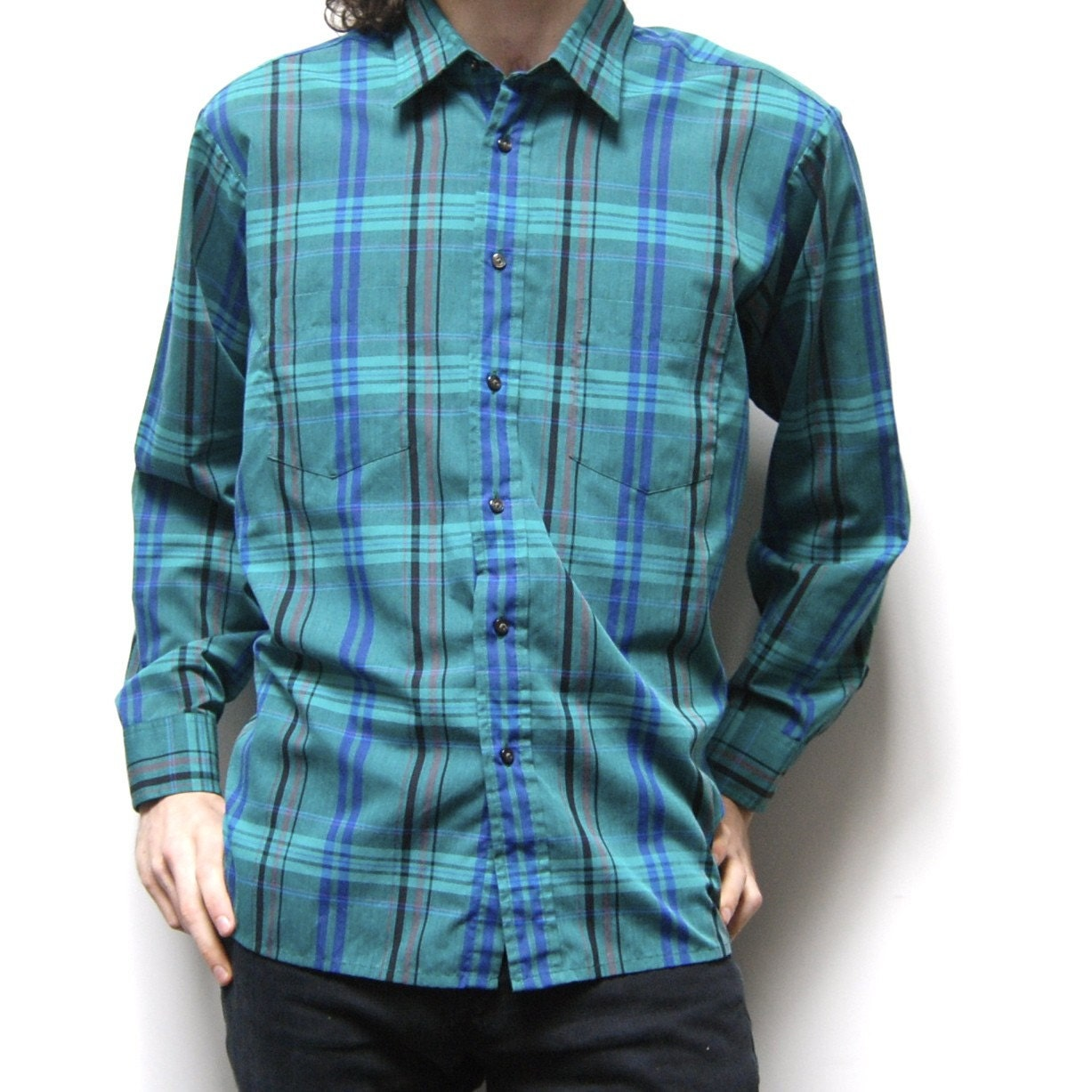 VIBRANT PLAID shirt tartan TURQUOISE long sleeve button up