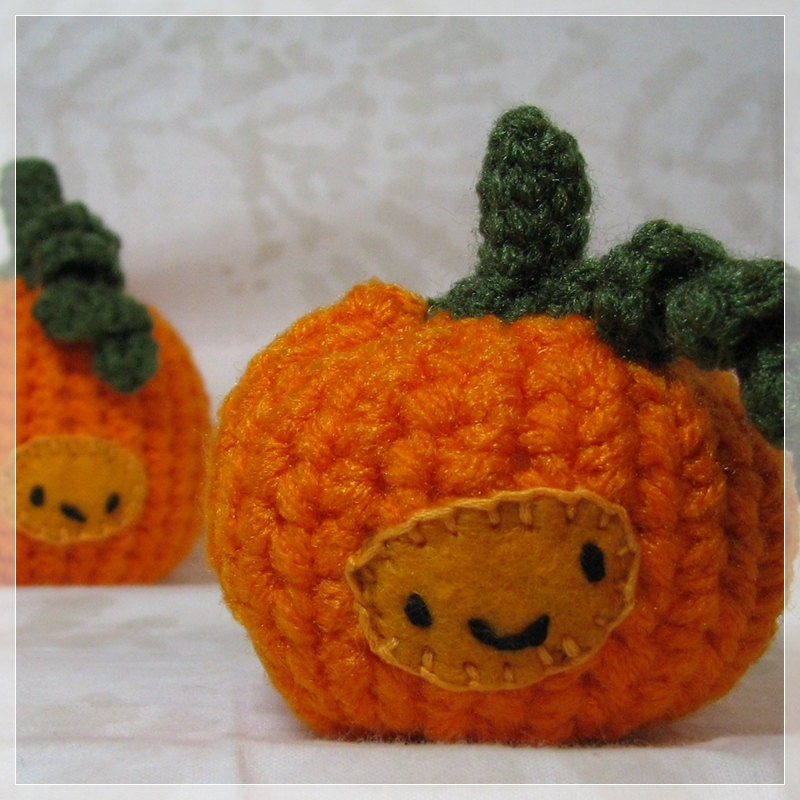 Crochet Pumpkins Halloween Decoration Amigurumi                   Pair of Handmade Chibi Cute Kawaii Set 2