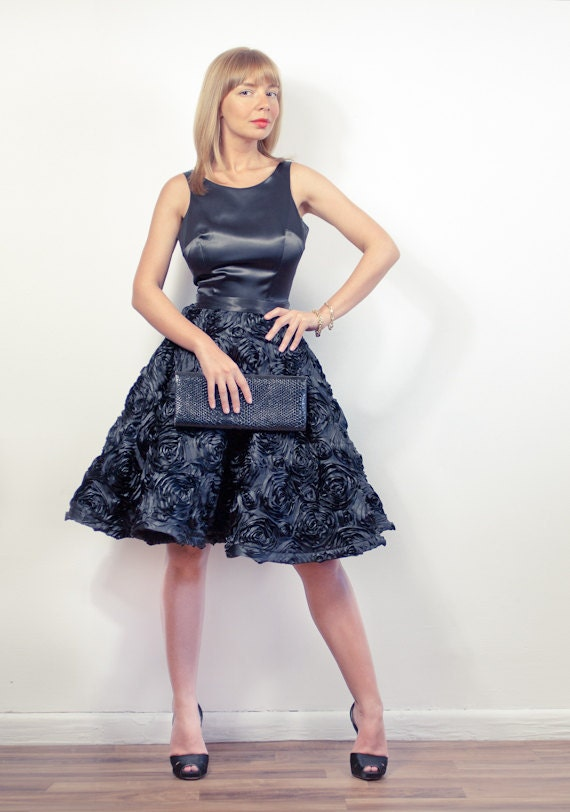 Black Satin Open Back Dress With Rosette-Embroidered Full Skirt - Made To Measure