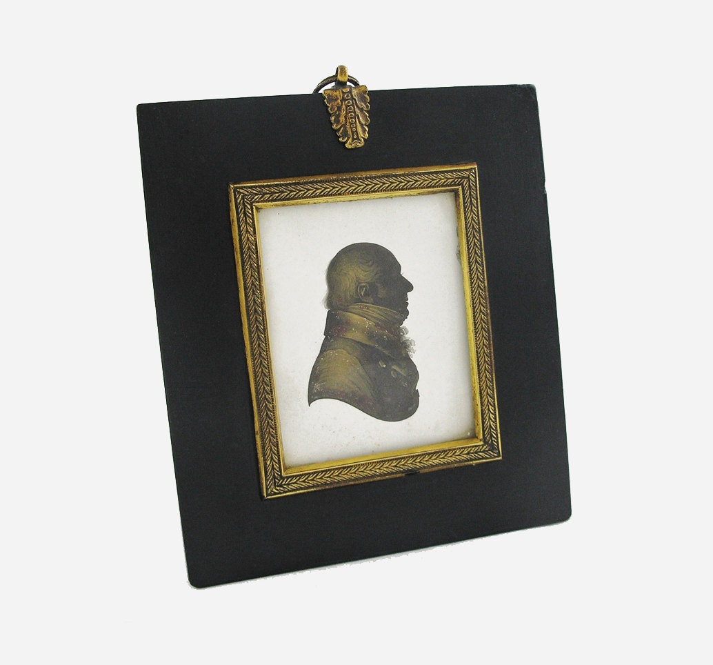 Antique Miers & Field Silhouette Robert T. Miniature Portrait of Gentleman in Profile - c. 1800's, England - AmuletArtandAntiques