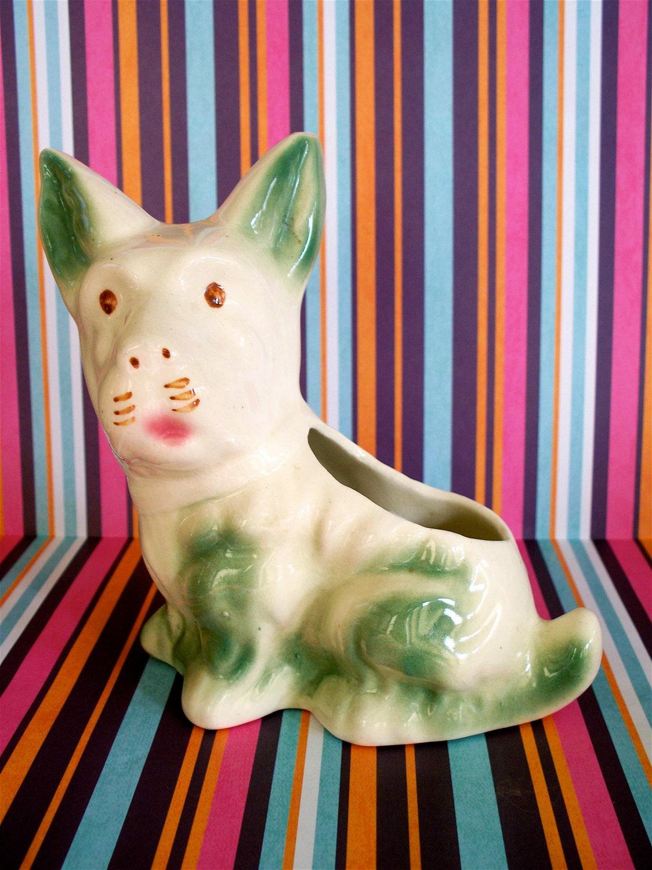 Vintage  Kitsch Adorable Corgie Puppy Dog Planter