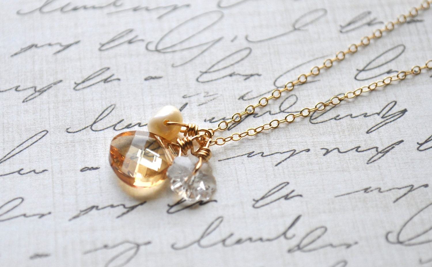 Bouquet Crystal Necklace - golden shadow swarovski crystal pearl gold filled cluster - simple wedding or everyday jewelry
